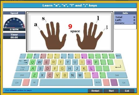 Typing lesson starting window