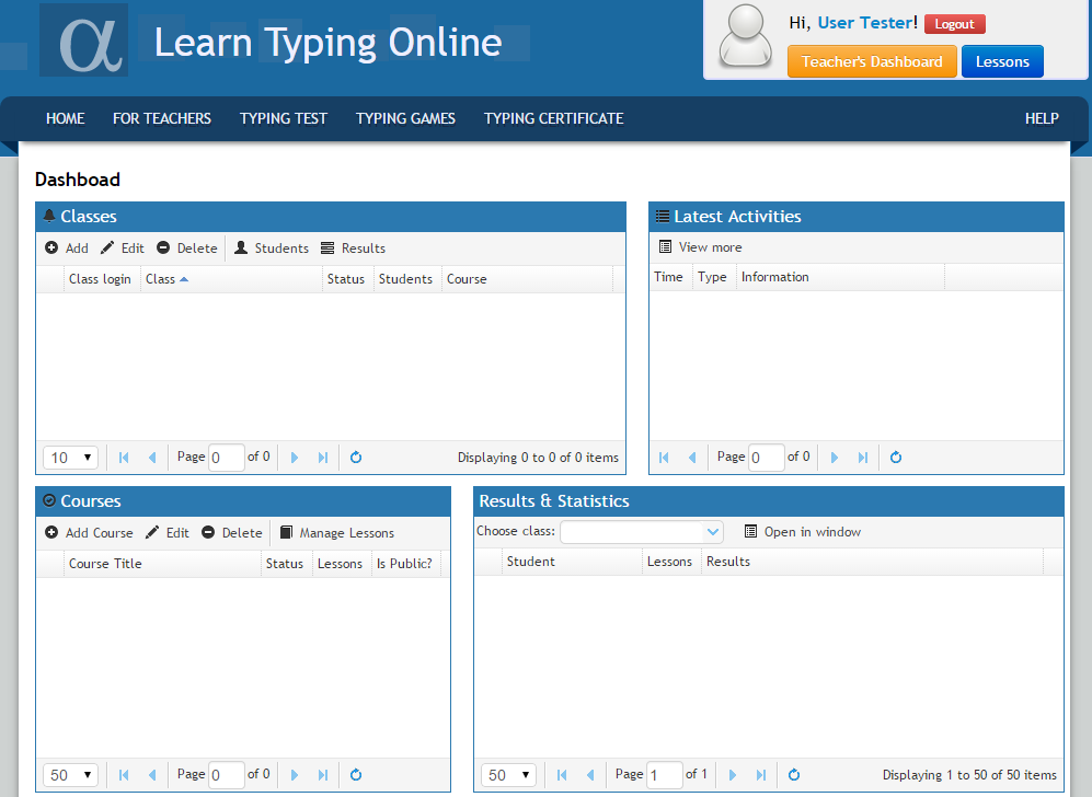 Opening typing teacher's dashboard