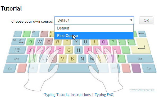 Teacher's typing portal: choosing custom typing lesson